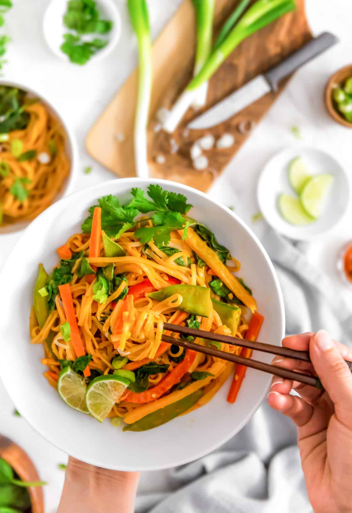 Fast and Easy Curry Noodles, vegan curry, vegan noodles, vegan dinner, plant based, vegan, vegetarian, whole food plant based, gluten free, recipe, wfpb, healthy, healthy vegan, oil free, no refined sugar, no oil, refined sugar free, dairy free, noodles, curry, veggies, dinner, fast recipe, easy recipe