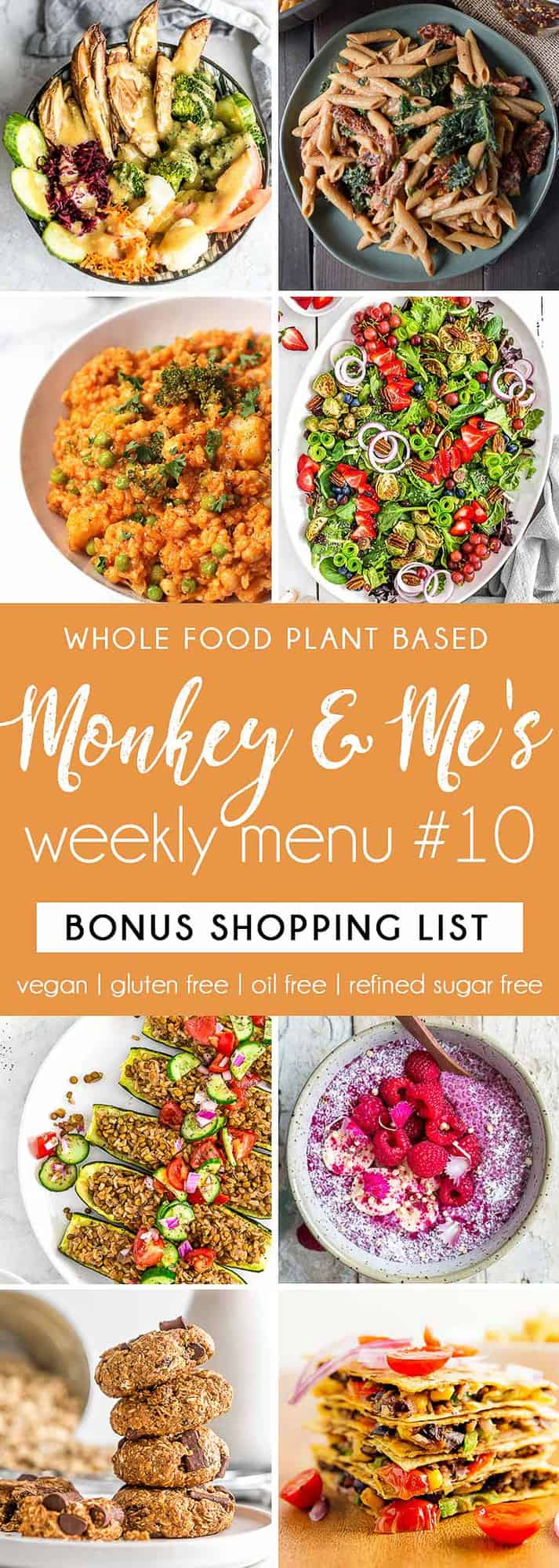 Monkey and Me's Menu, Menu 10, weekly recipe plan, menu, planner, plant based, vegan, vegetarian, whole food plant based, gluten free, recipe, wfpb, healthy, healthy vegan, oil free, no refined sugar, no oil, refined sugar free, dairy free, dinner, lunch, menu, plant based menu, vegan menu, weekly menu, meal plan, vegan meal plan, plant based meal plan, shopping list