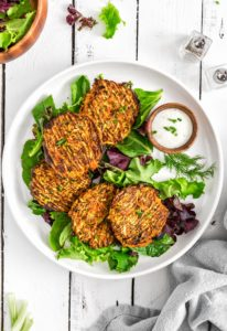 No Oil Vegan Buffalo Zucchini Fritters, Vegan zucchini fritters, vegan dinner, fritters, zucchini, zucchini fritters, buffalo, plant based dinner, plant based, vegan, vegetarian, whole food plant based, gluten free, recipe, wfpb, healthy, healthy vegan, oil free, no refined sugar, no oil, refined sugar free, dairy free, dairy, dinner, lunch, healthy recipe, vegan meal