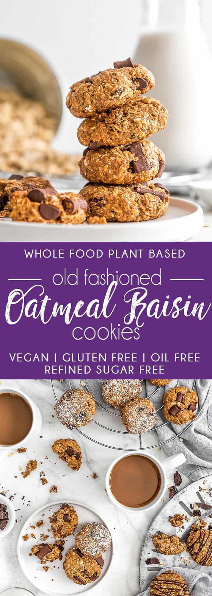 Old Fashioned Oatmeal Raisin Cookies, vegan cookie, vegan oatmeal cookies, vegan dessert, plant based, vegan, vegetarian, whole food plant based, gluten free, recipe, wfpb, healthy, healthy vegan, oil free, no refined sugar, no oil, refined sugar free, dairy free, chocolate, chocolate chips, oatmeal cookie, old fashioned cookie, easy cookie, treats, sweets, desserts