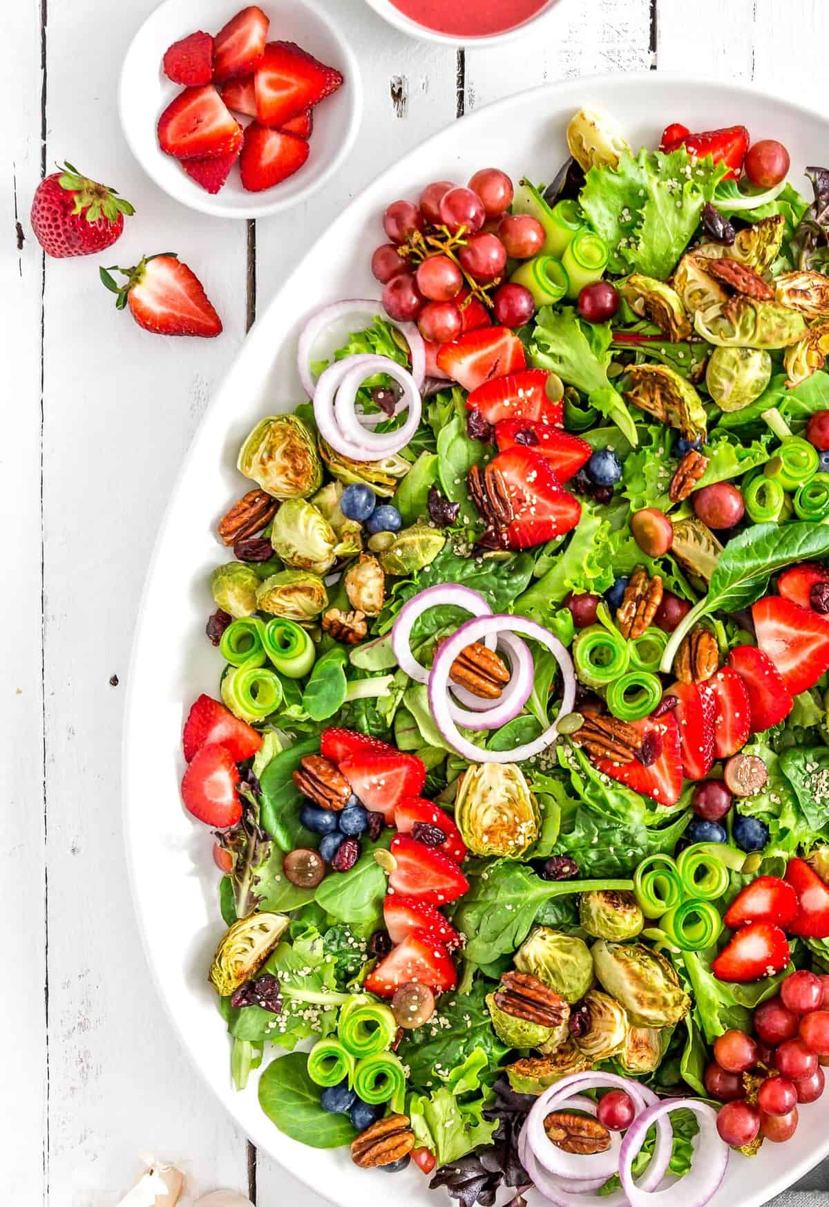 Roasted Brussel Sprout Salad with Strawberry Vinaigrette, vegan salad, strawberry vinaigrette, vegan dinner, plant based, vegan, vegetarian, whole food plant based, gluten free, recipe, wfpb, healthy, healthy vegan, oil free, no refined sugar, no oil, refined sugar free, dairy free, Brussel sprouts, strawberry dressing, strawberry salad, Brussel sprout salad, dinner, fast recipe, easy recipe