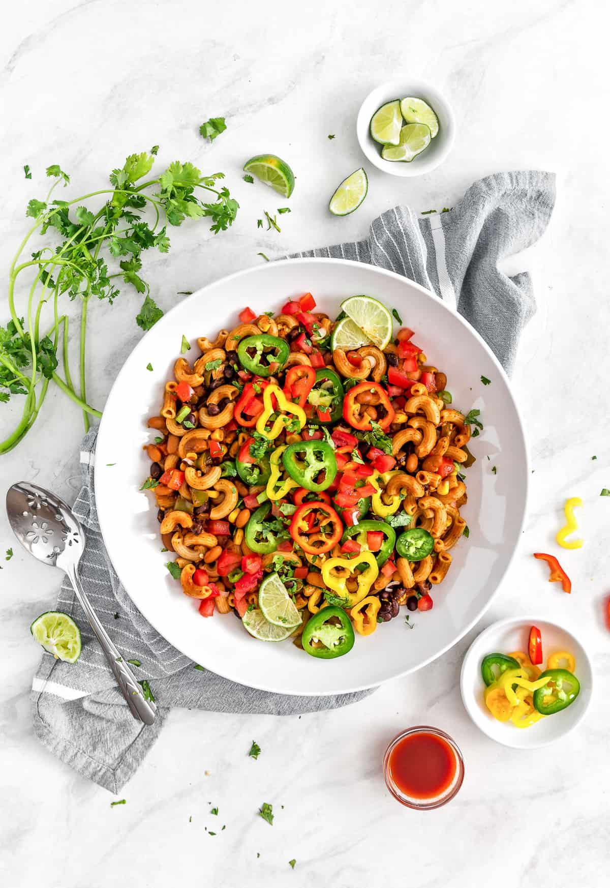 Tex-Mex Chili Mac, Vegan chili mac, vegan dinner, chili, mac, chili mac, tex-mex, southwestern, plant based dinner, plant based, vegan, vegetarian, whole food plant based, gluten free, recipe, wfpb, healthy, healthy vegan, oil free, no refined sugar, no oil, refined sugar free, dairy free, dairy, dinner, lunch, healthy recipe, vegan meal