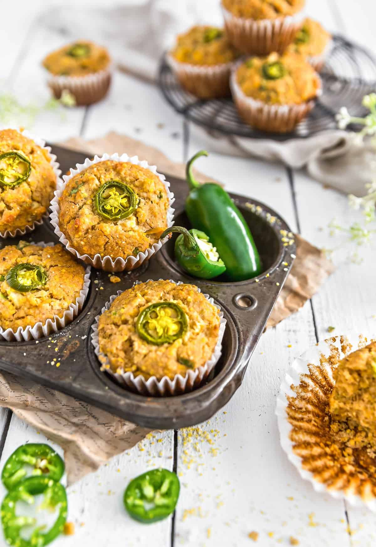 Jalapeño Corn Muffin, corn muffins, muffins, jalapeño, corn, plant based dessert, plant based, vegan, vegetarian, whole food plant based, gluten free, recipe, wfpb, healthy, healthy vegan, oil free, no refined sugar, no oil, refined sugar free, dairy free, sides, healthy recipe, vegan meal, savory muffins, cornbread, vegan cornbread, cornbread muffin, jalapeno, jalapeno corn muffin