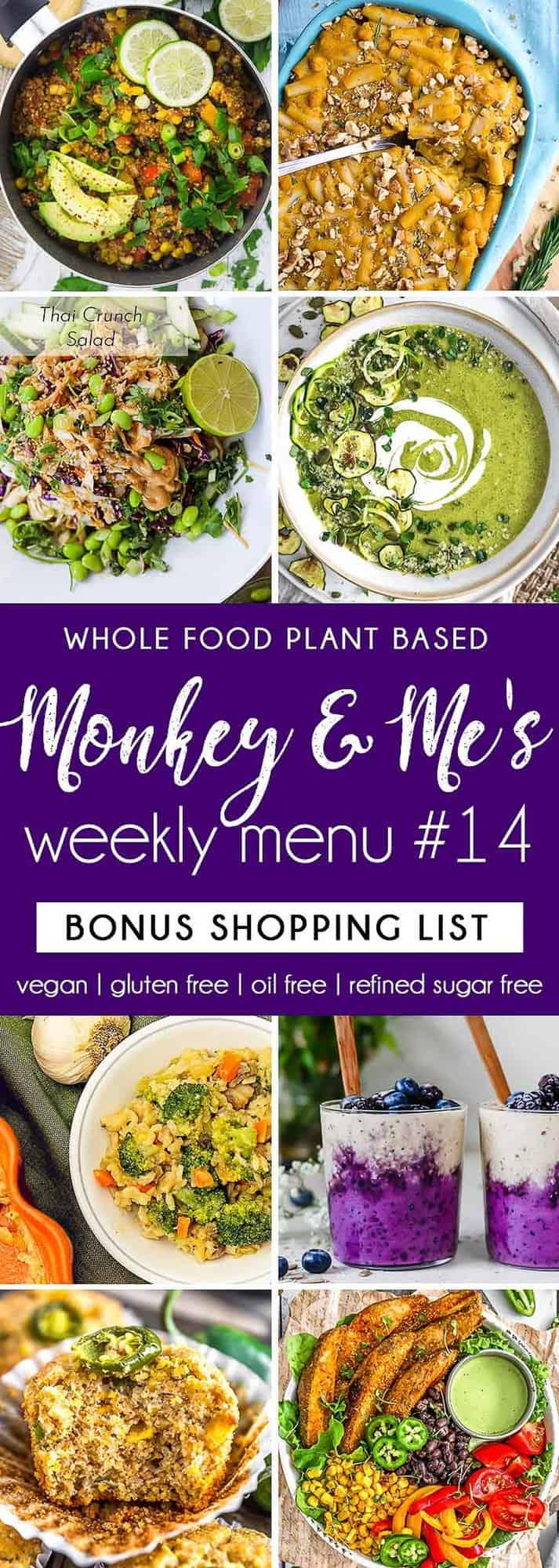 Monkey and Me's Menu, Menu 14, weekly recipe plan, menu, planner, plant based, vegan, vegetarian, whole food plant based, gluten free, recipe, wfpb, healthy, healthy vegan, oil free, no refined sugar, no oil, refined sugar free, dairy free, dinner, lunch, menu, plant based menu, vegan menu, weekly menu, meal plan, vegan meal plan, plant based meal plan, shopping list
