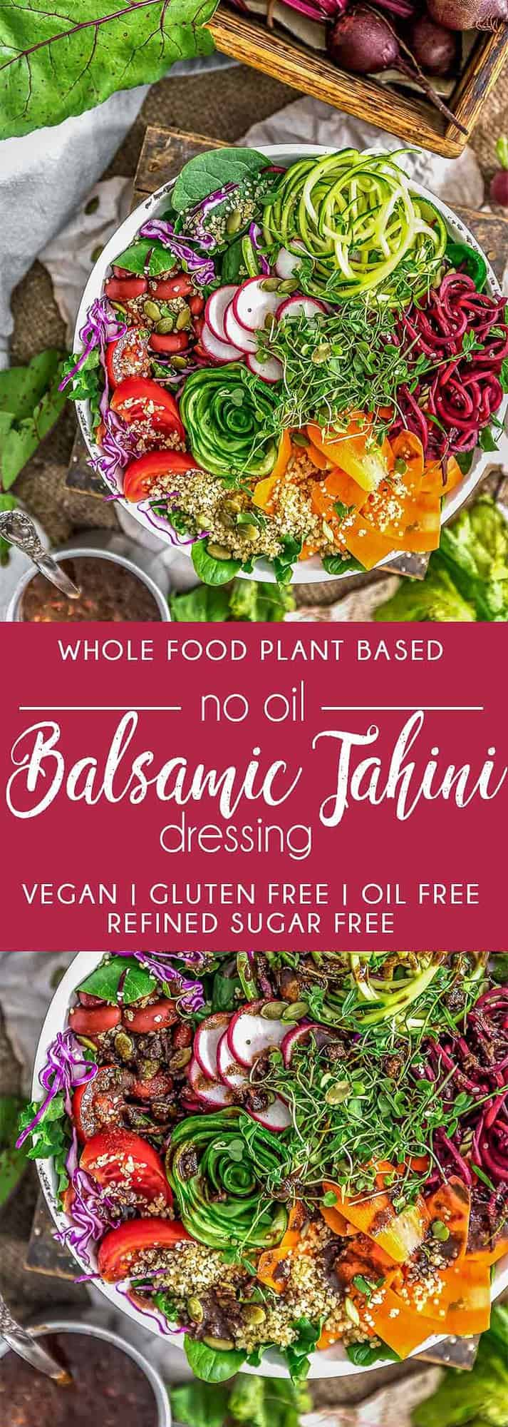 No Oil Balsamic Tahini Dressing, vegan dressing, vegan sauce, dressing, sauce, salad, plant based, vegan, vegetarian, whole food plant based, gluten free, recipe, wfpb, healthy, healthy vegan, oil free, no refined sugar, no oil, refined sugar free, dairy free, dinner party, entertaining, dinner, lunch, salad, side, no oil dressing, no oil sauce, easy recipe, appetizer, summer, fall, winter, spring