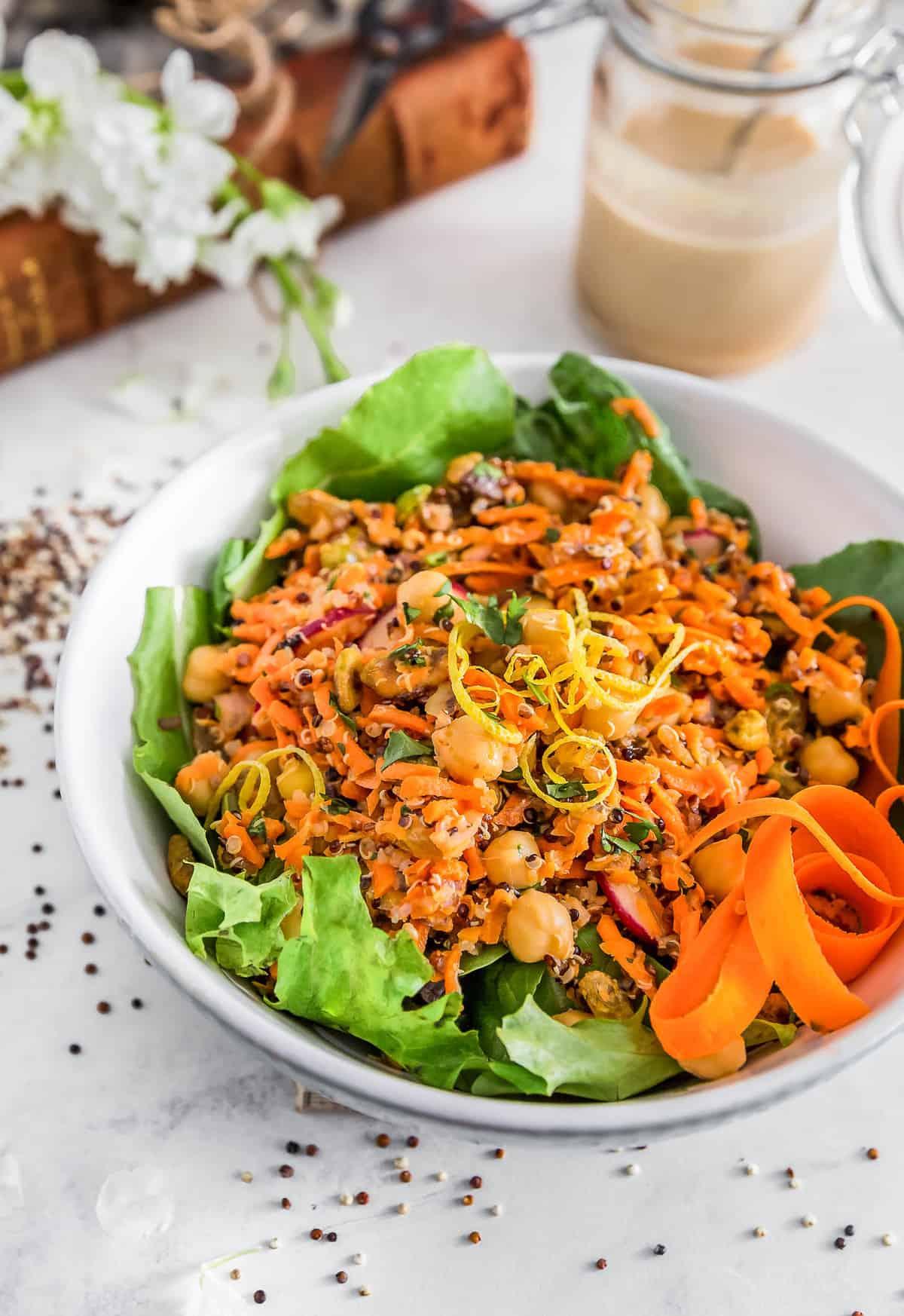 No Oil Moroccan Carrot Quinoa Salad, vegan salad, Moroccan food, carrot, quinoa, salad, plant based, vegan, vegetarian, whole food plant based, gluten free, recipe, wfpb, healthy, healthy vegan, oil free, no refined sugar, no oil, refined sugar free, dairy free, dinner party, entertaining, dinner, lunch, salad, side, carrot salad, Moroccan salad, picnic, easy recipe, appetizer, summer, fall, winter, spring