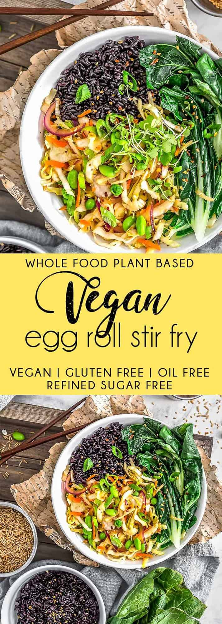Vegan Egg Roll Stir Fry, vegan stir fry, oil free stir fry, vegan egg roll, cabbage, stir fry, plant based, vegan, vegetarian, whole food plant based, gluten free, recipe, wfpb, healthy, healthy vegan, oil free, no refined sugar, no oil, refined sugar free, dairy free, dinner party, entertaining, dinner, lunch, rice, easy recipe, appetizer, summer, fall, winter, spring