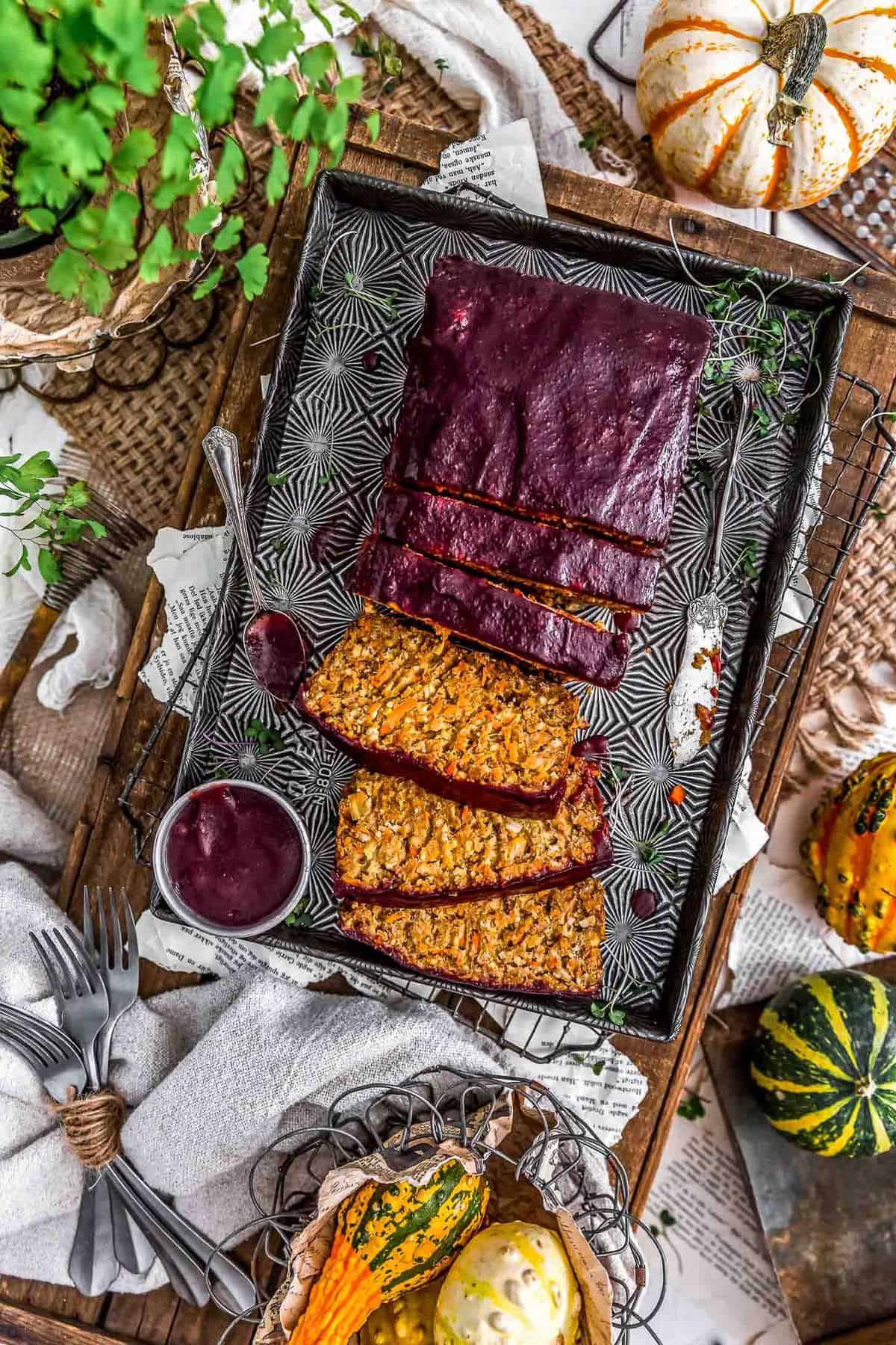 Sliced Harvest Veggie Loaf with spiced cranberry sauce