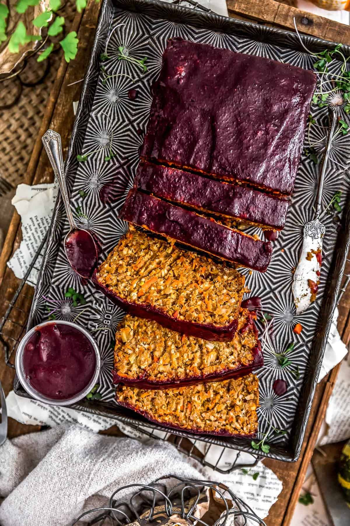 Sliced Harvest Veggie Loaf with spiced cranberry sauce