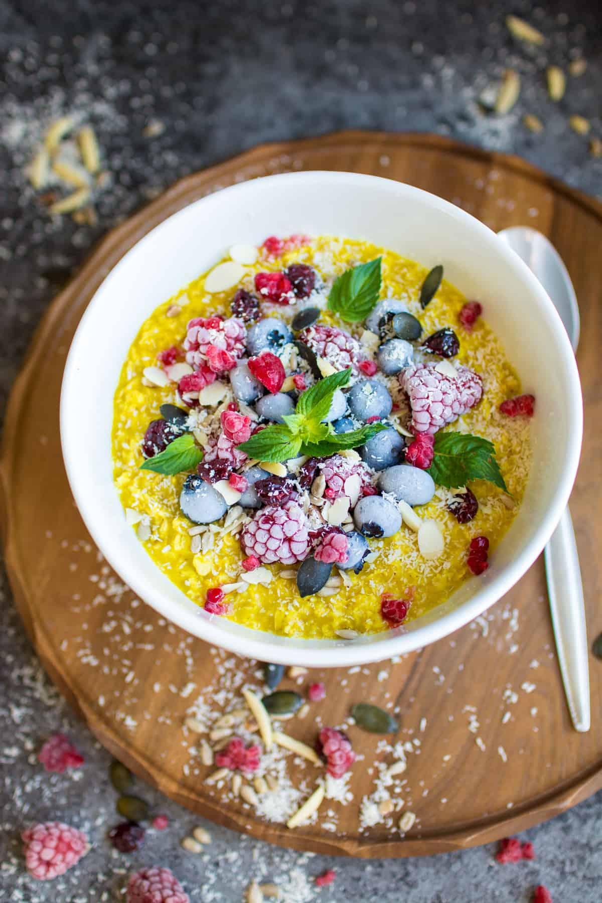 Turmeric oatmeal bowl with berries