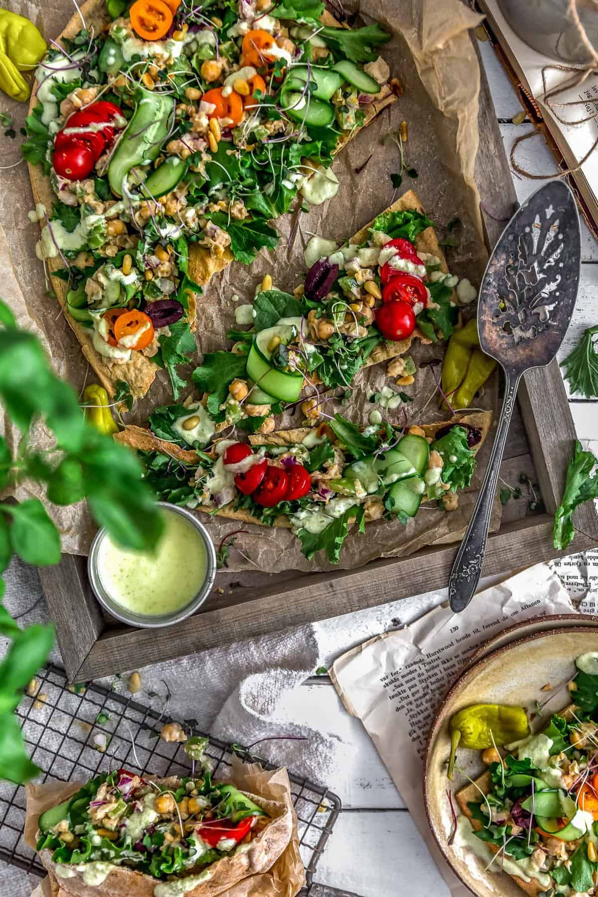 Vegan Greek Chickpea Salad, vegan chickpea salad, vegan salad, Greek, flatbread, salad, plant based, vegan, vegetarian, whole food plant based, gluten free, recipe, wfpb, healthy, healthy vegan, oil free, no refined sugar, no oil, refined sugar free, dairy free, dinner party, entertaining, dinner, lunch, side, oil free salad, oil free sauce, easy recipe, appetizer, food photography, photography, salad photography, flatlay
