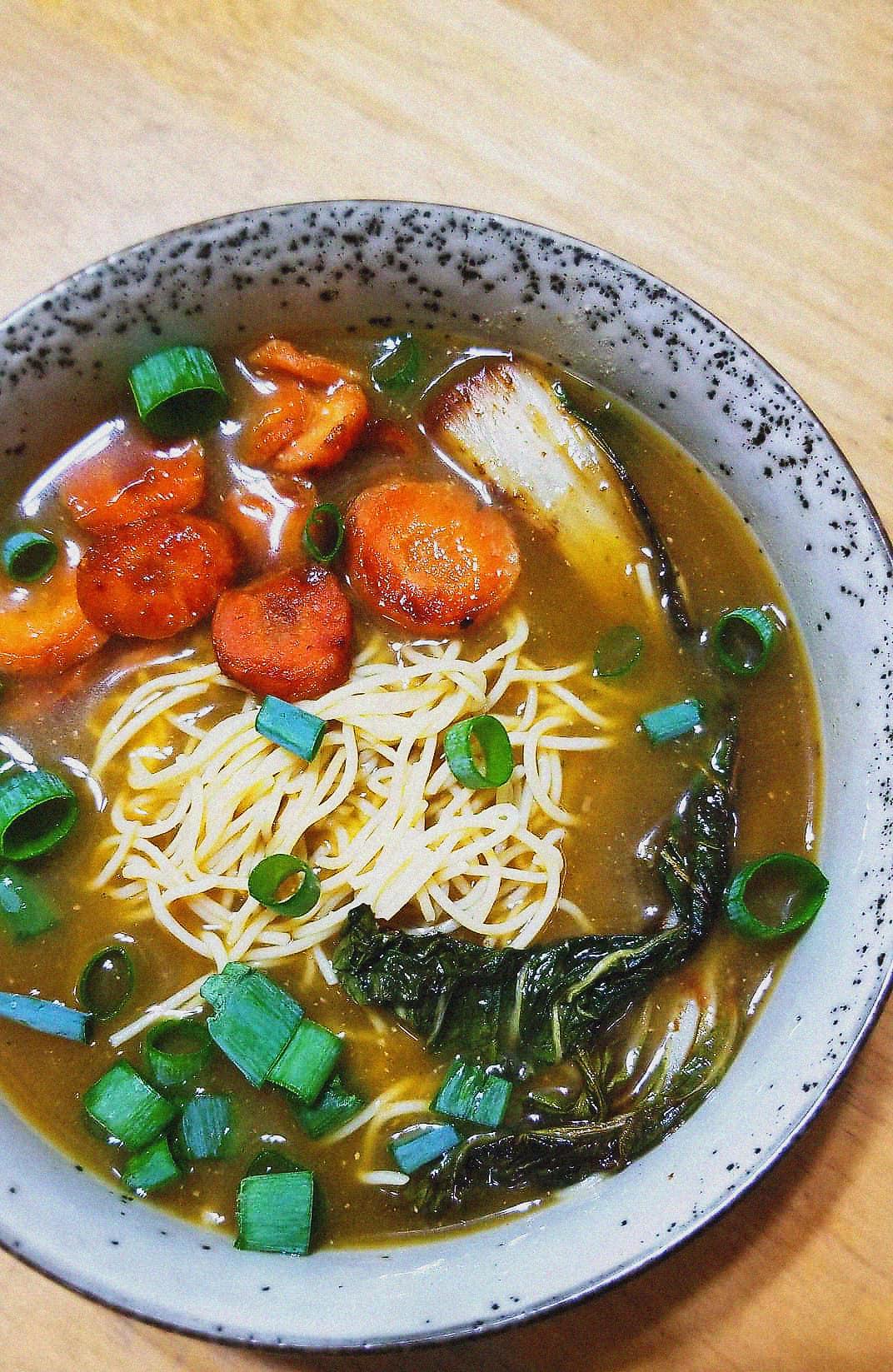Vegan Ramen with caramelized veggies