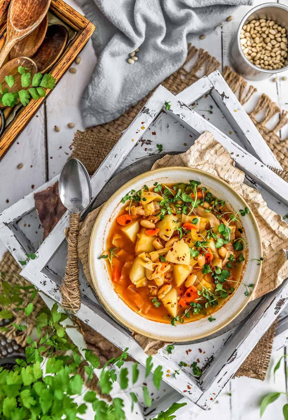 Tablescape of vegan Cabbage Potato Bean Soup