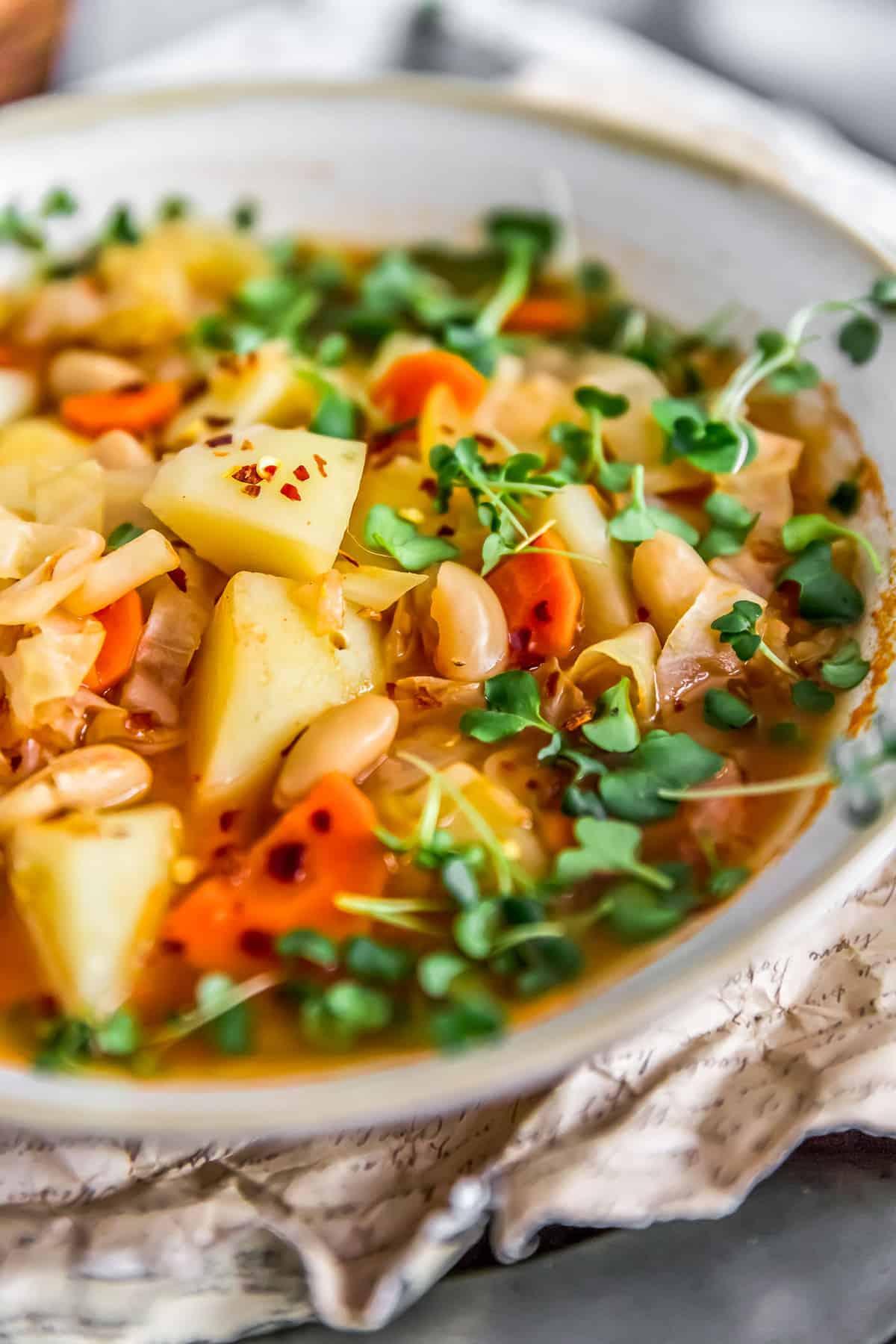 Close up of vegan Cabbage Potato Bean Soup