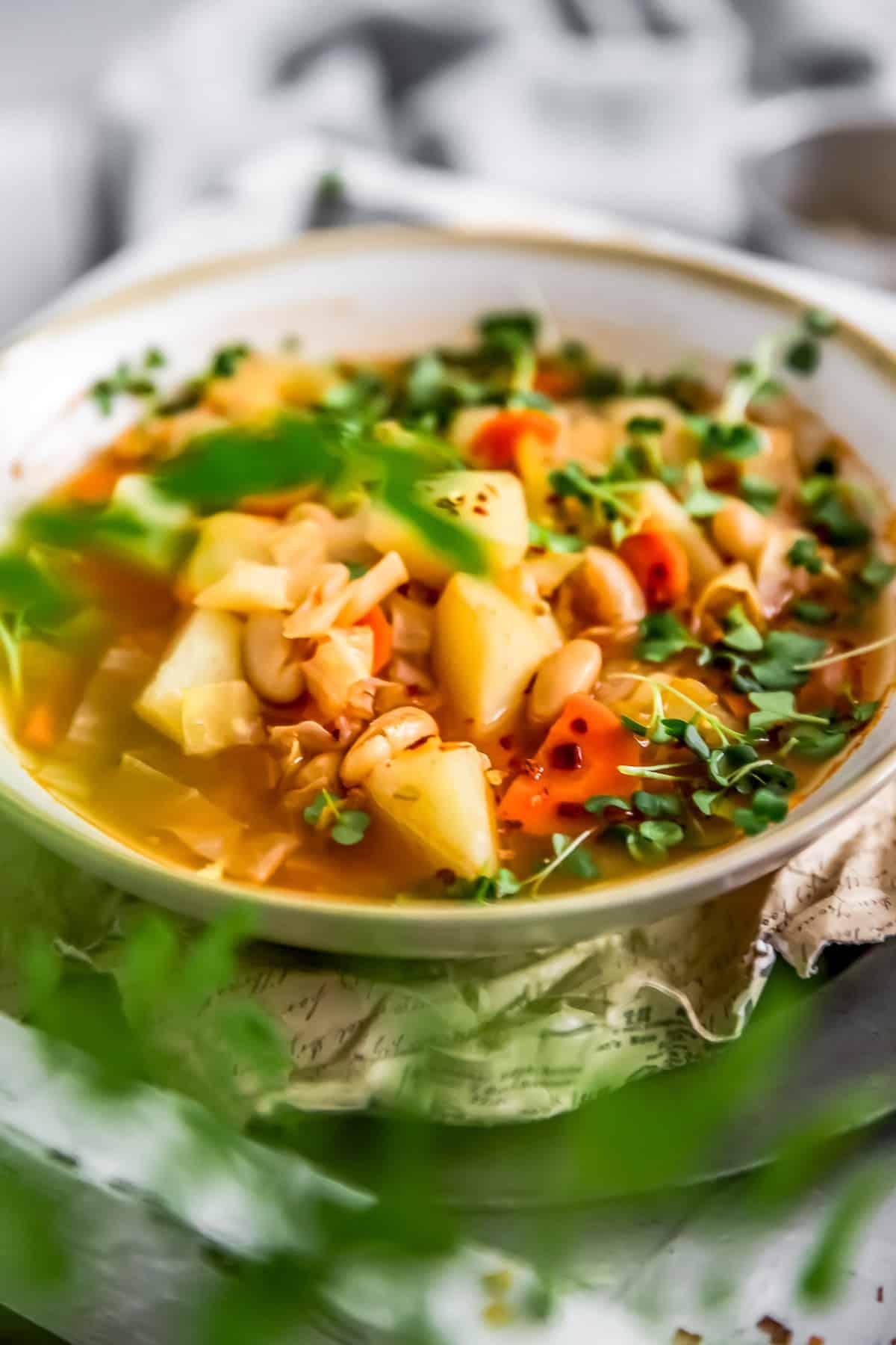 Side view of vegan Cabbage Potato Bean Soup