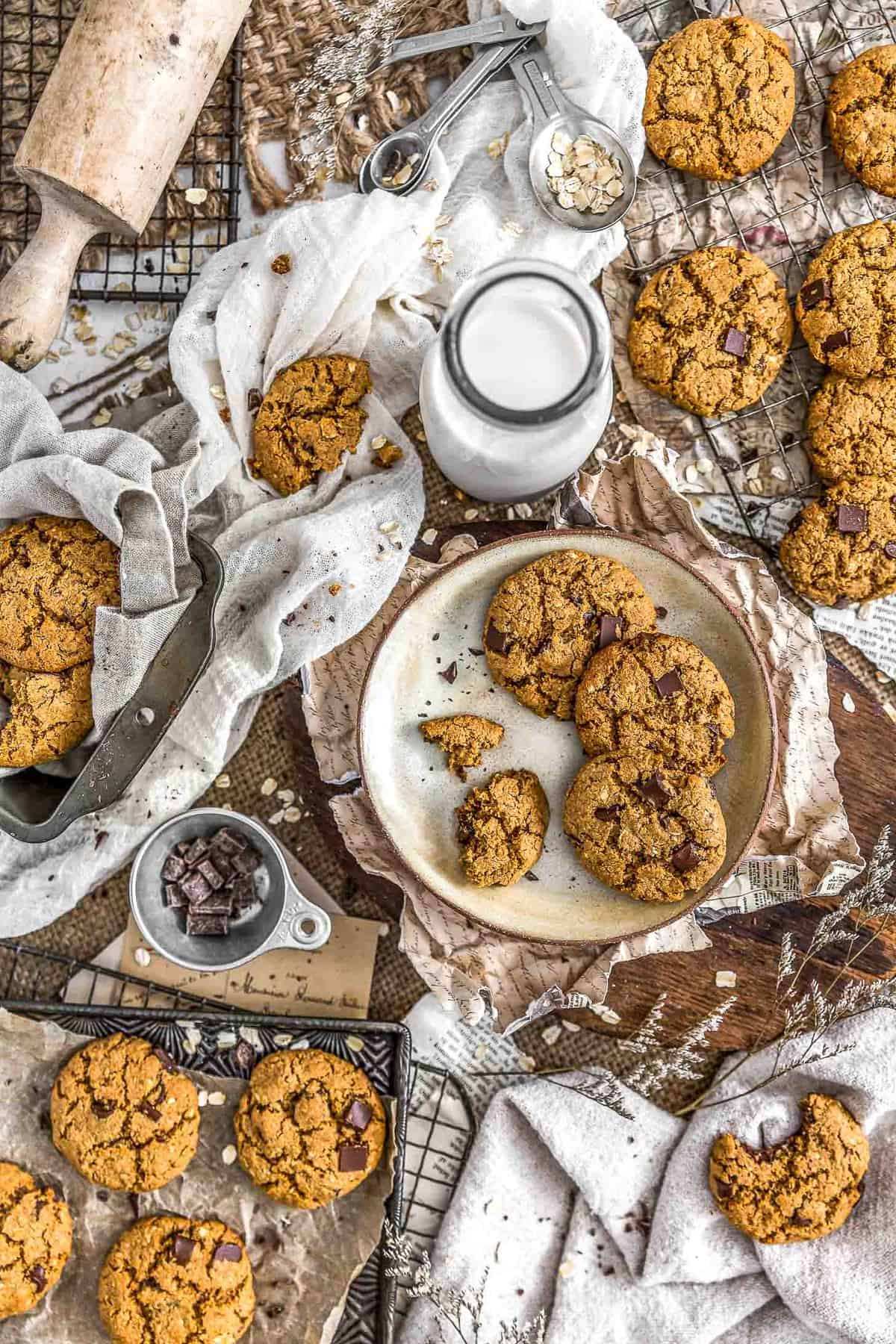 Tablescape of Healthy Vegan Chocolate Chip Cookies