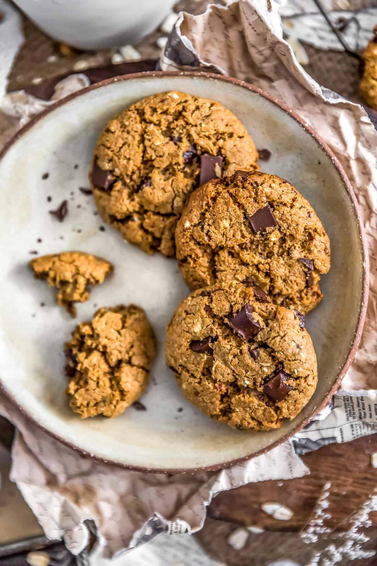 Plate of Healthy Vegan Chocolate Chip Cookies