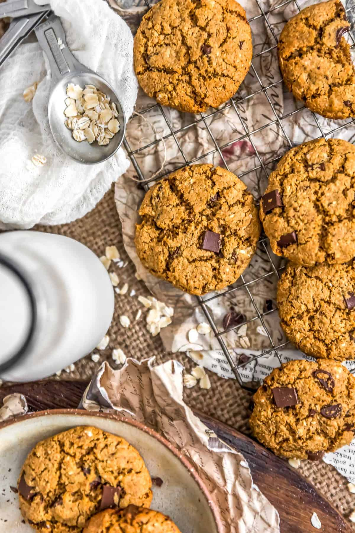 Healthy Vegan Chocolate Chip Cookies on a cooling rack