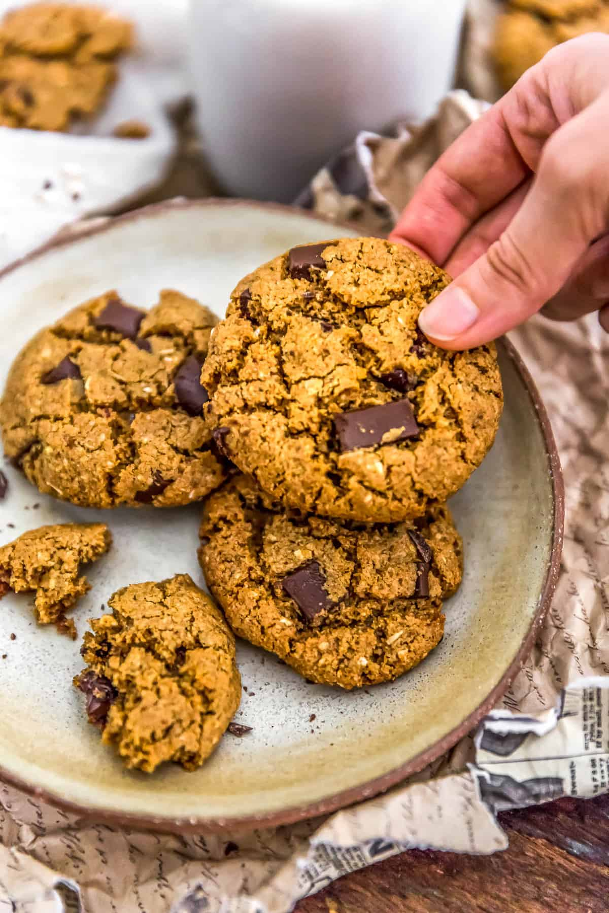 Picking up a Healthy Vegan Chocolate Chip Cookie
