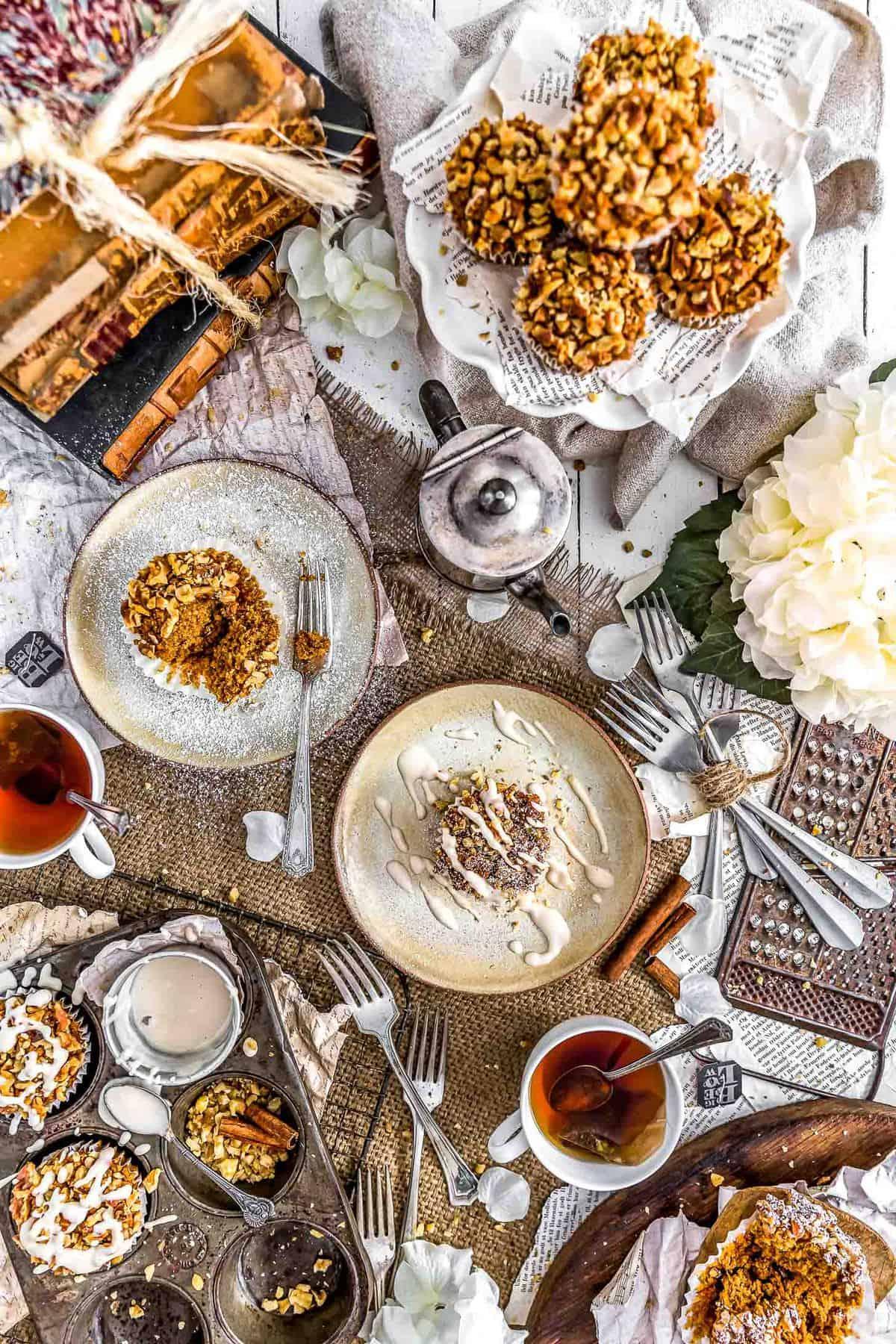 Tablescape of Healthy Vegan Pumpkin Muffins