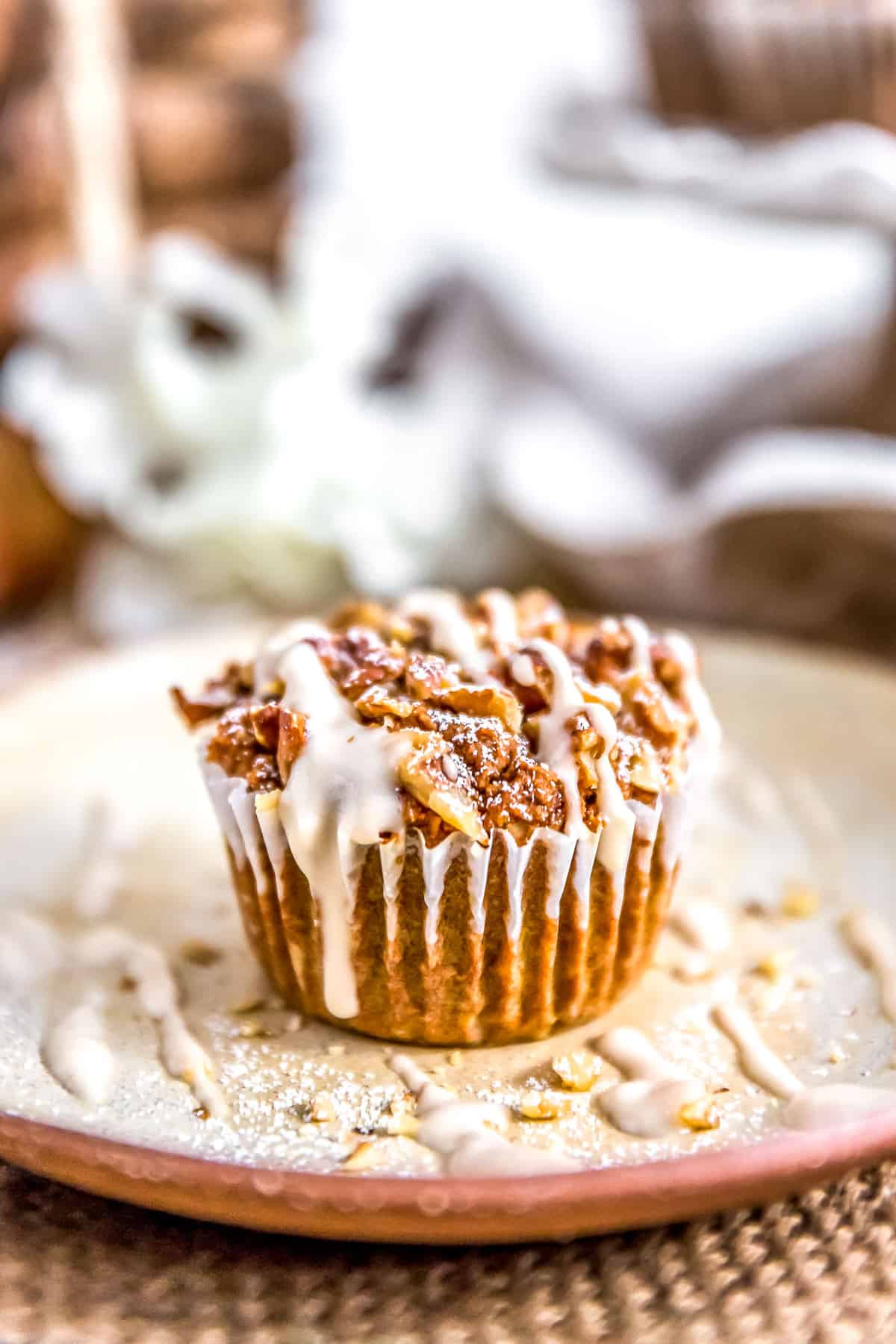 Close of a Tablescape of Healthy Vegan Pumpkin Muffin