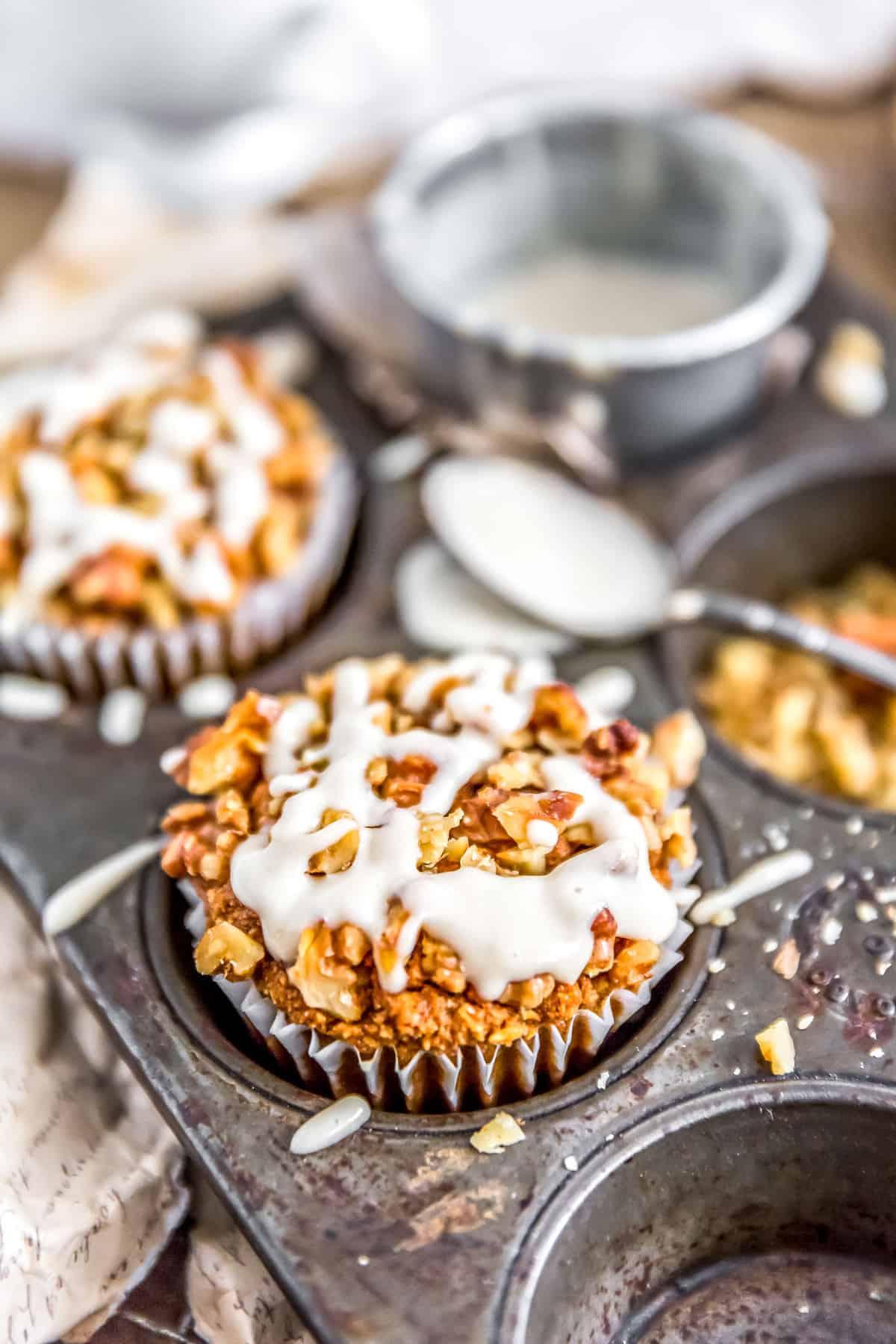 Healthy Vegan Pumpkin Muffins in a muffin pan