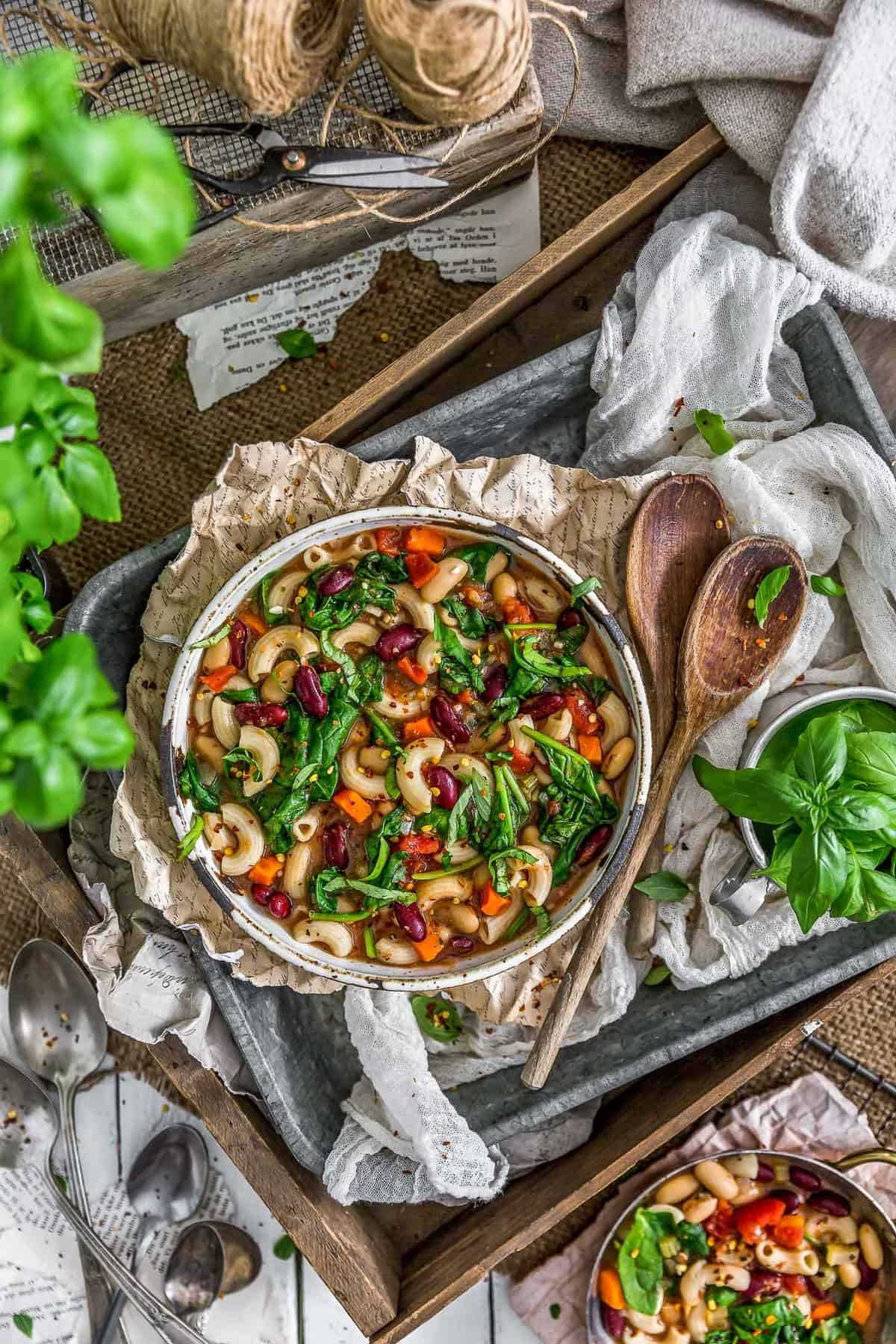 Tablescape of Italian Pasta Fagioli