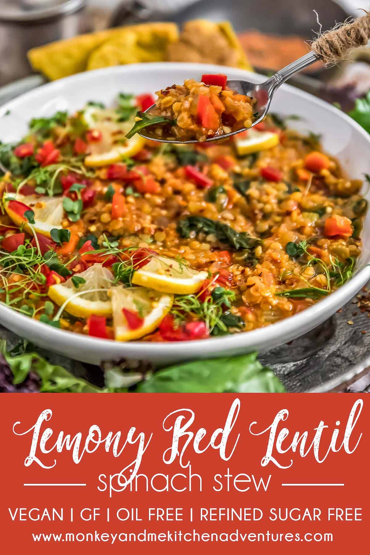 Lemony Red Lentil Spinach Stew with text description