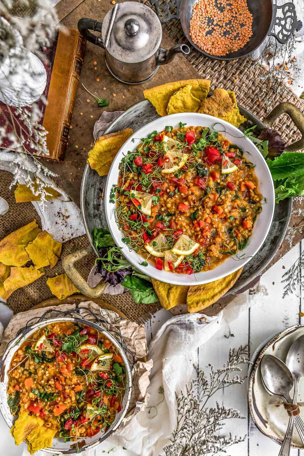 Tablescape of Lemony Red Lentil Spinach Stew
