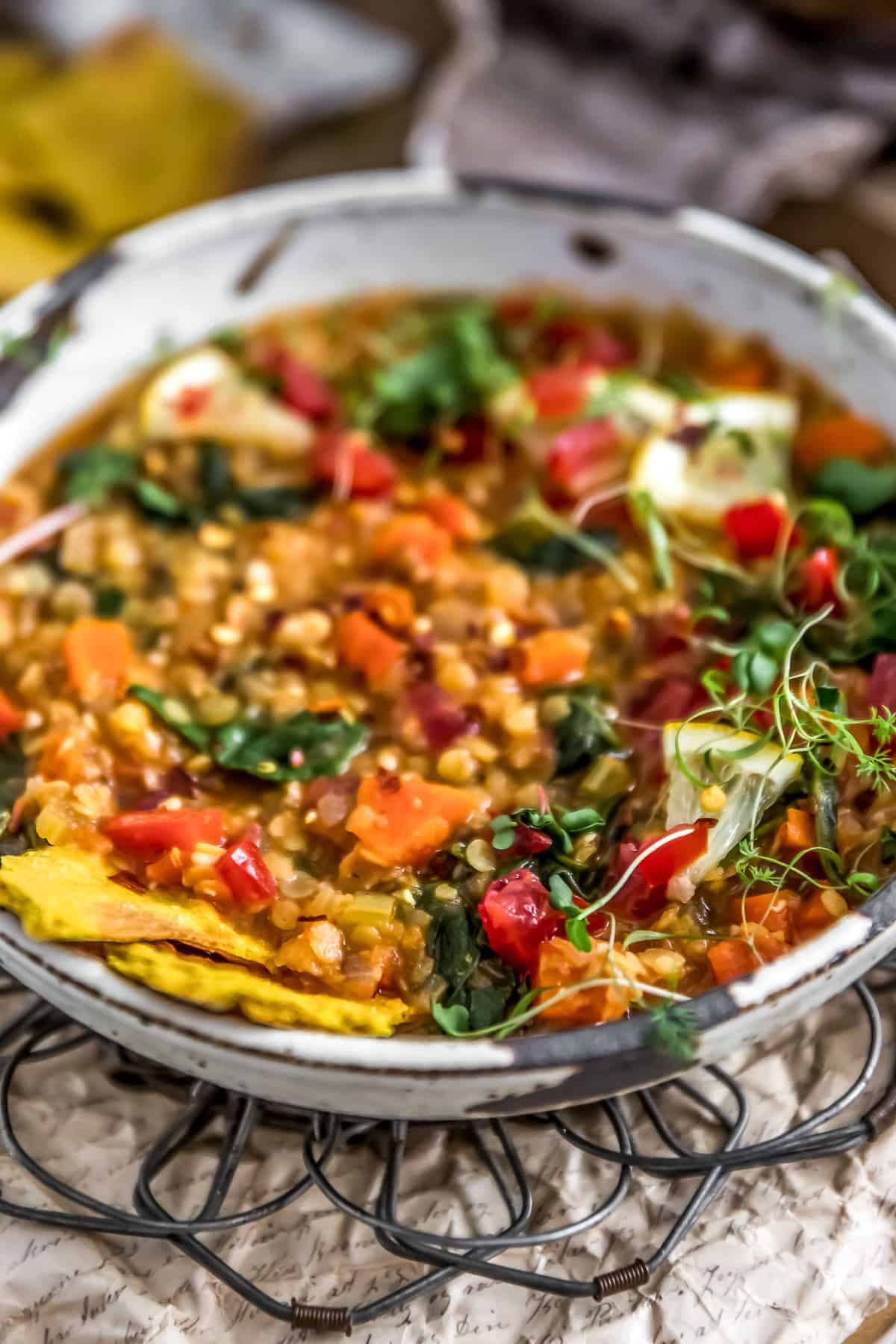 Lemony Red Lentil Spinach Stew in a bowl