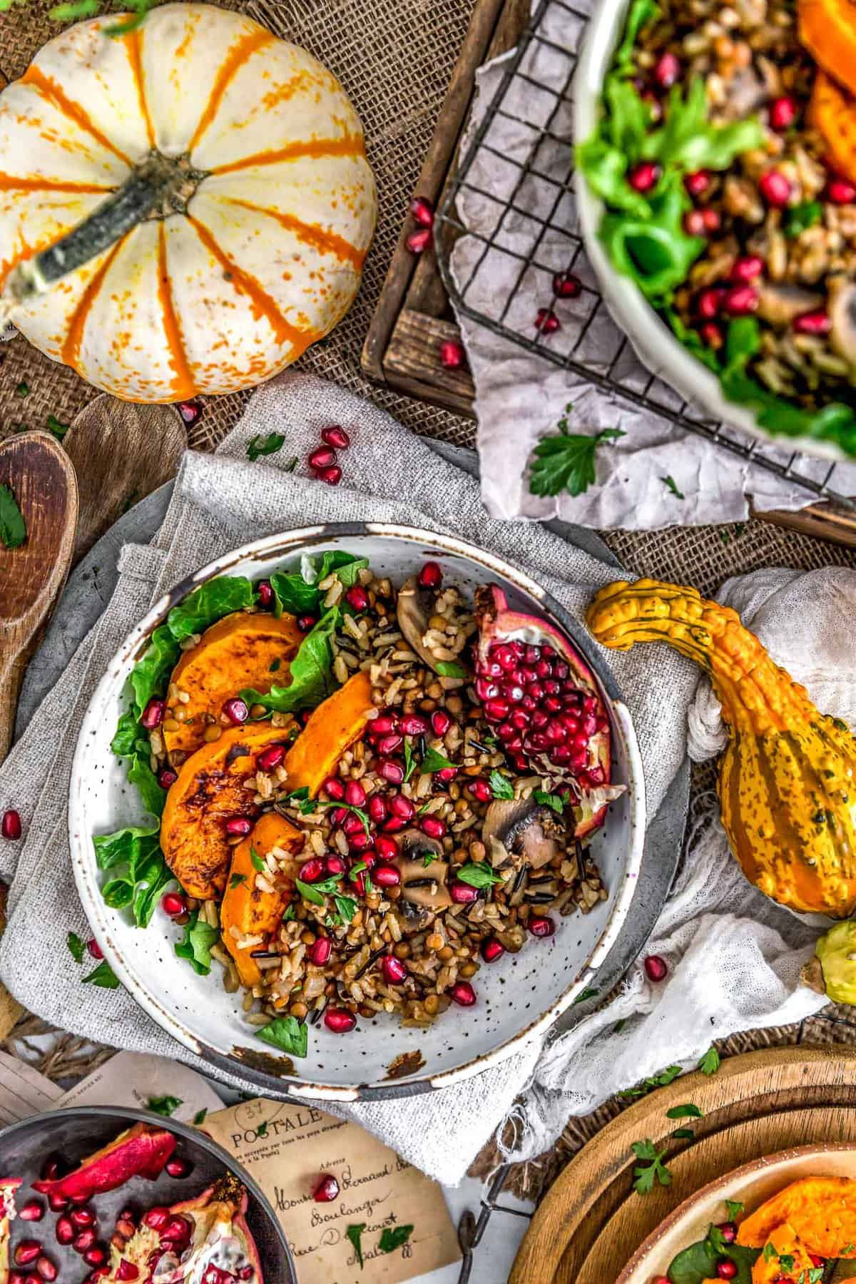 Close up of Lentil Mushroom Wild Rice Pilaf with butternut squash and pomegranate