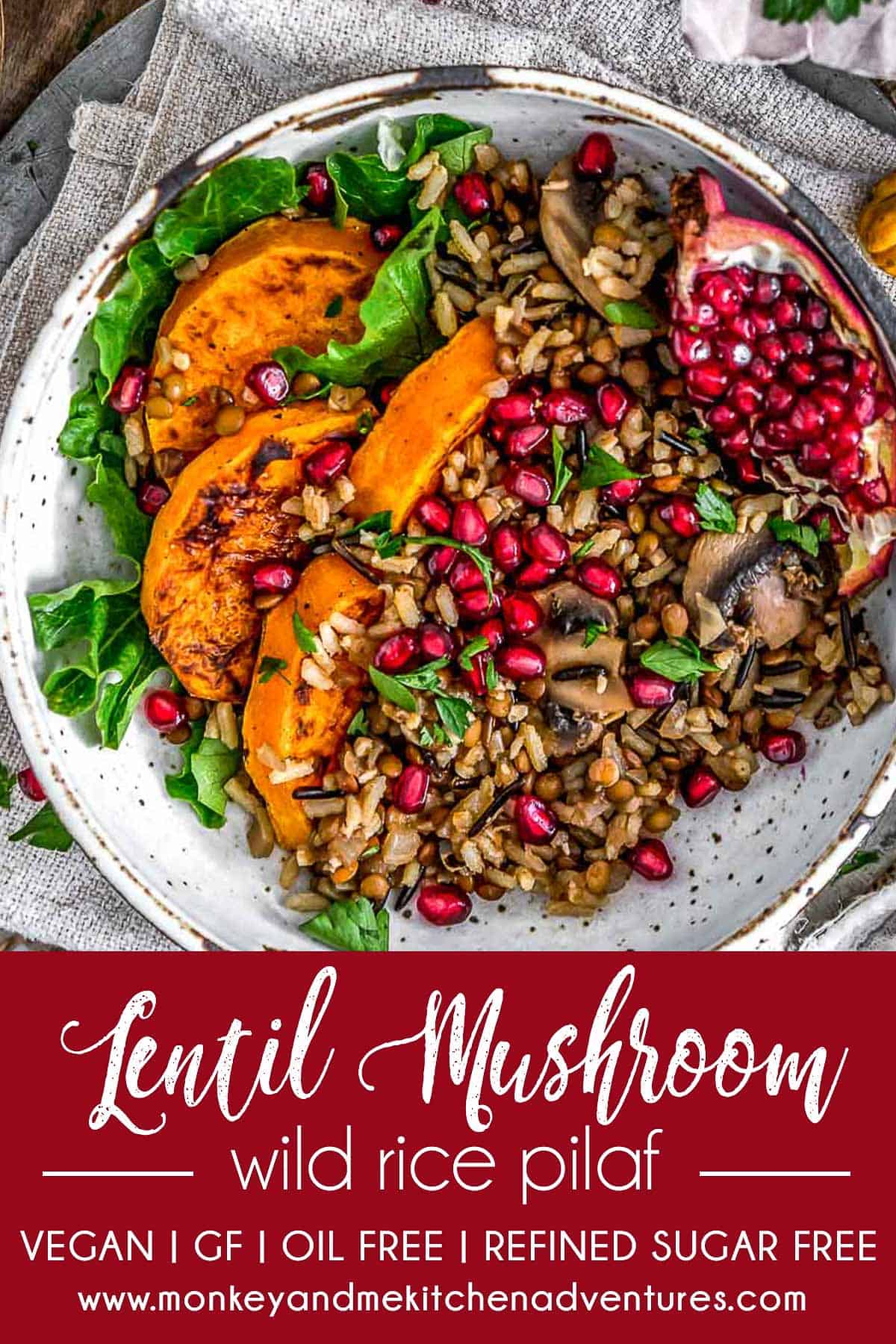 Lentil Mushroom Wild Rice Pilaf with text describing it