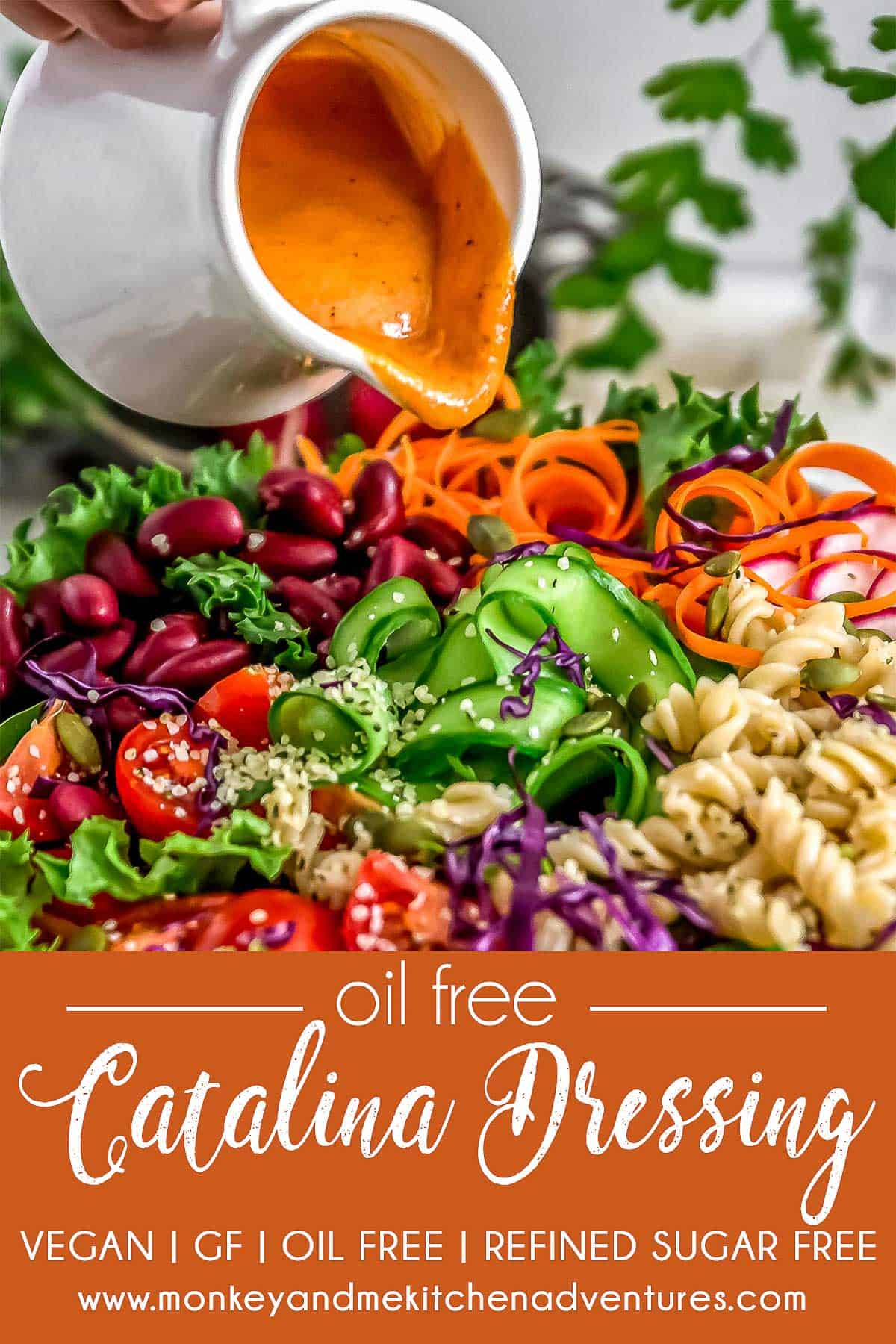 Close up of Oil Free Catalina Dressing and text describing it.