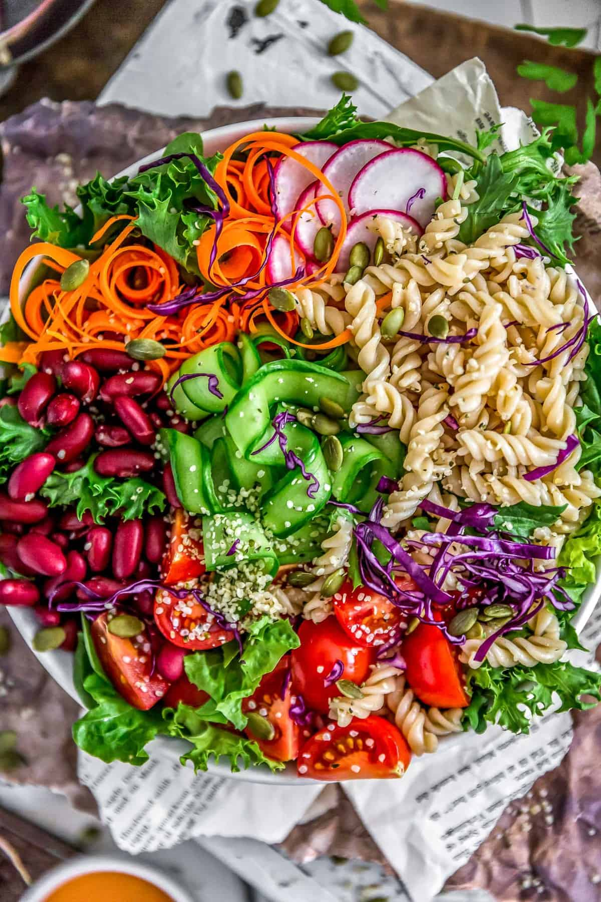 Close up of Oil Free Catalina Dressing veggie bowl
