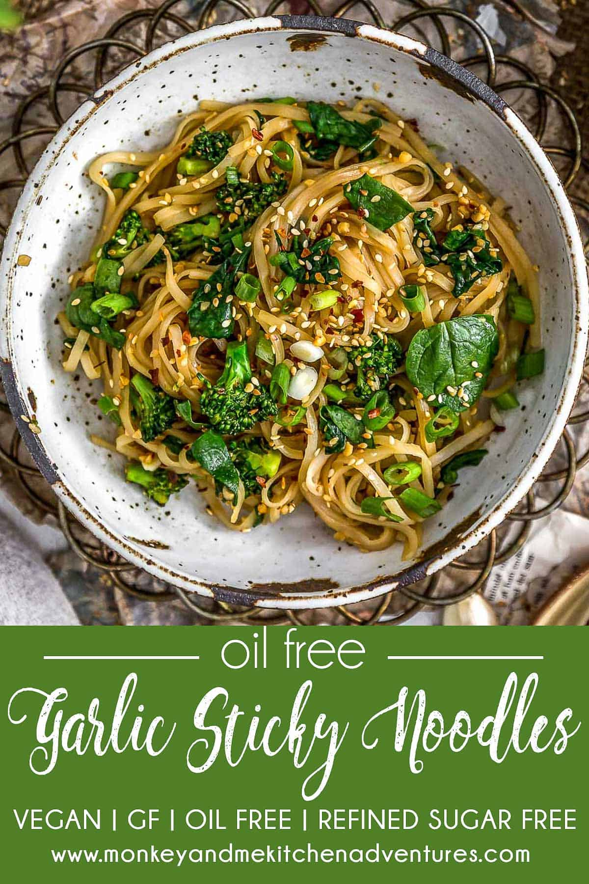 Oil Free Garlic Sticky Noodles with text description