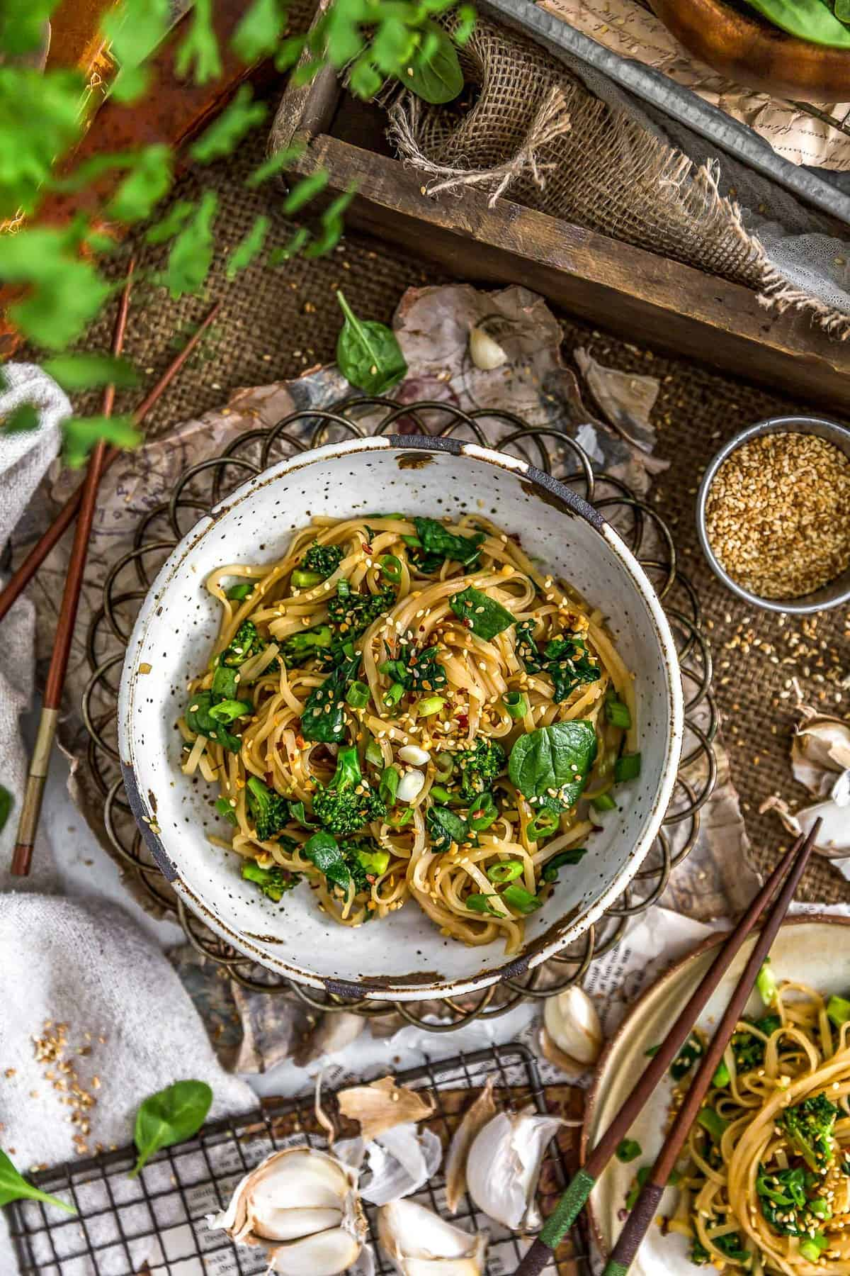 Tablescape of Oil Free Garlic Sticky Noodles