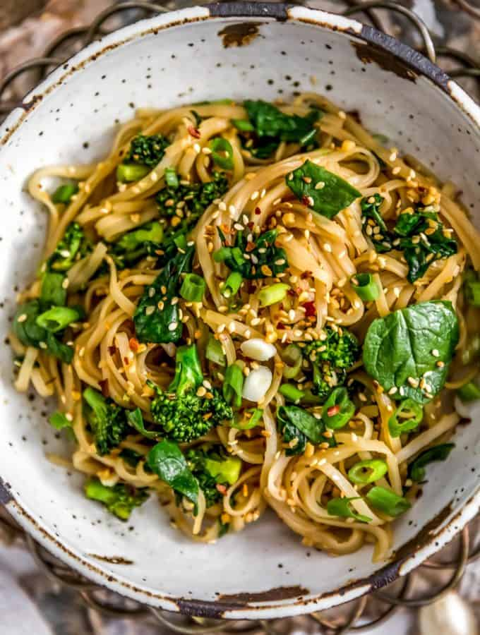 Bowl of Oil Free Garlic Sticky Noodles