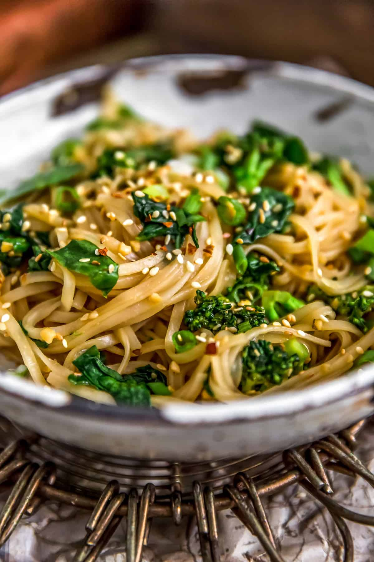 Sideview of Oil Free Garlic Sticky Noodles