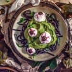 Plates of Spooky Spinach Halloween Pasta