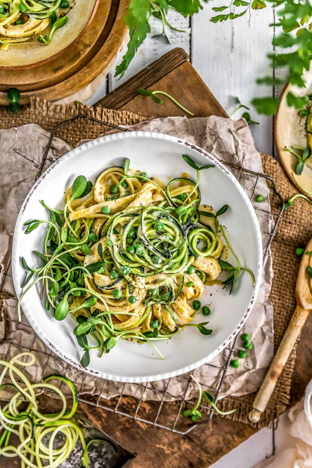 Tablescape of Vegan Cashew Alfredo Sauce with pasta