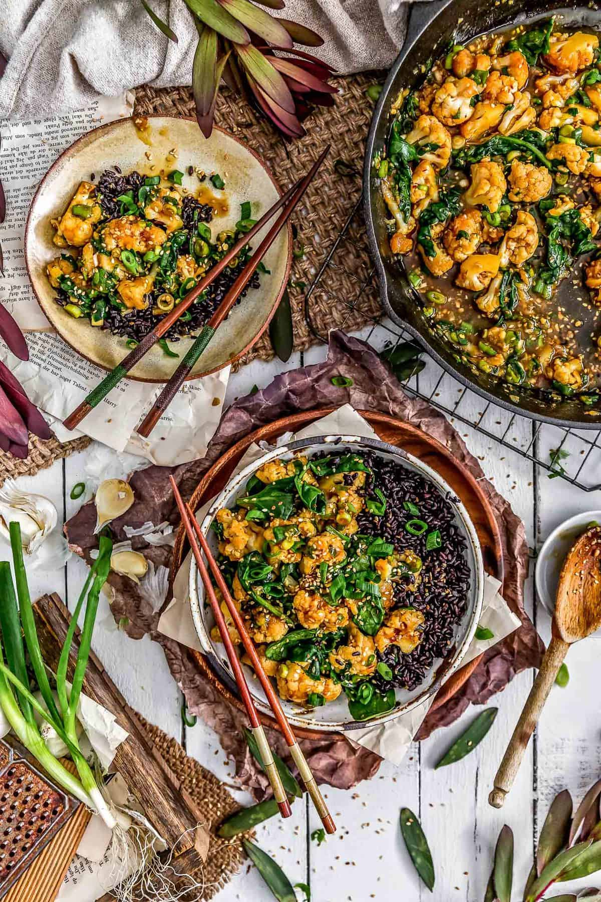 Tablescape of Vegan Korean BBQ Cauliflower