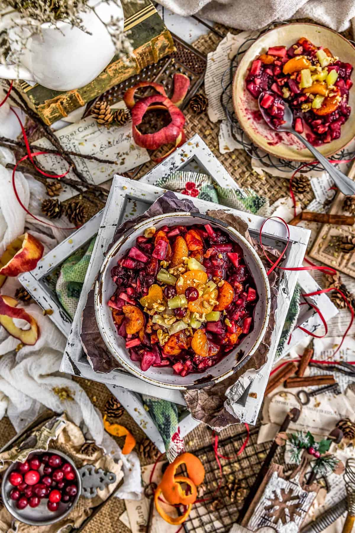 Tablescape of Cranberry Fruit Salad