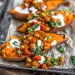 Moroccan Spiced Chickpeas and Garlic Sauce over Sweet Potatoes