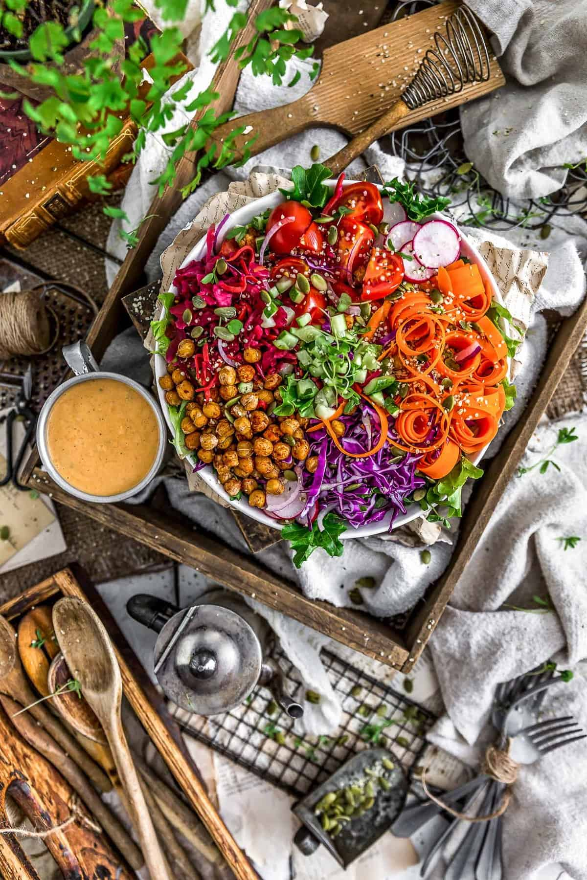 Tablescape of Oil Free Vegan Thousand Island Dressing