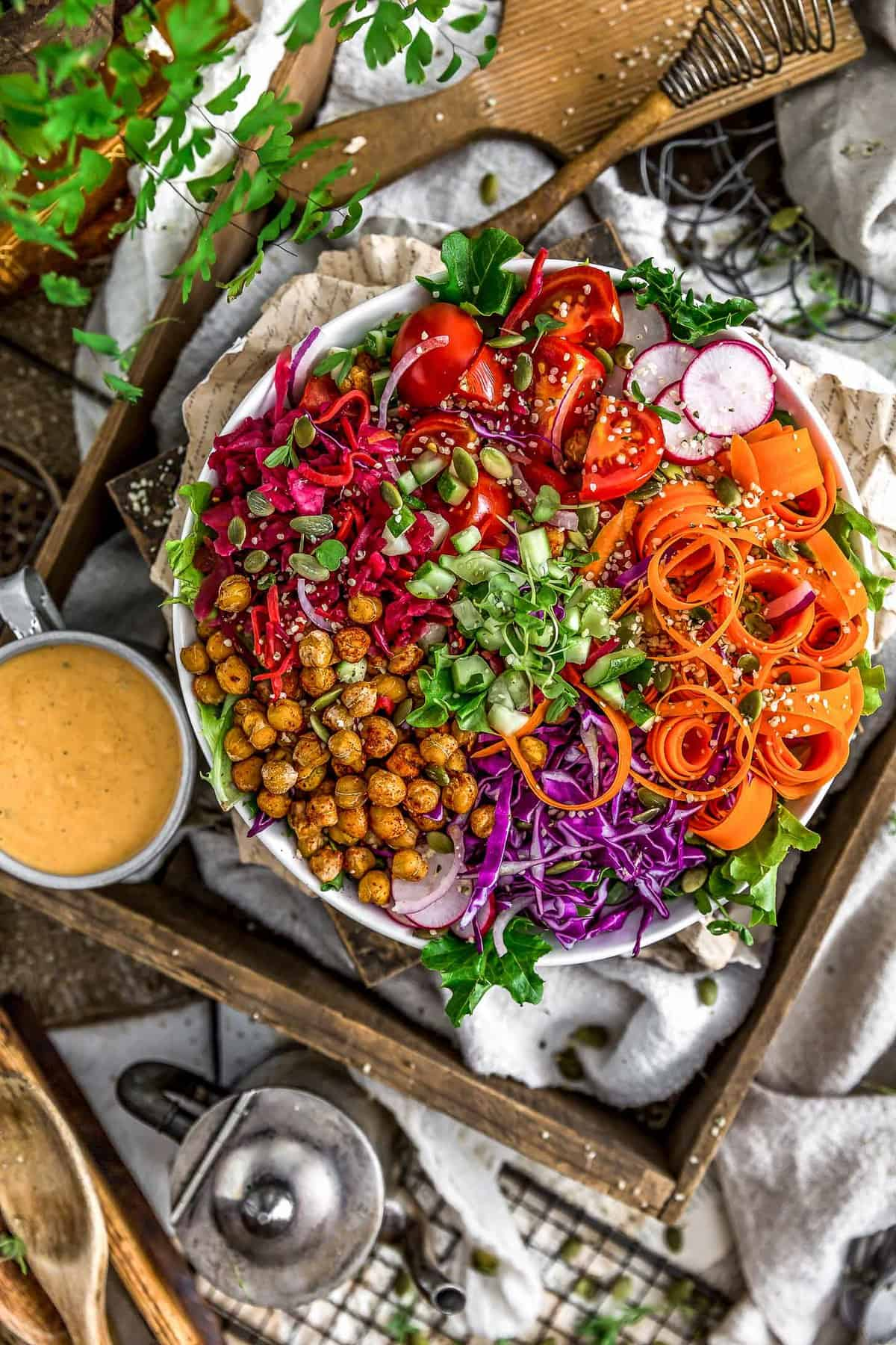 Veggie Bowl with Oil Free Vegan Thousand Island Dressing