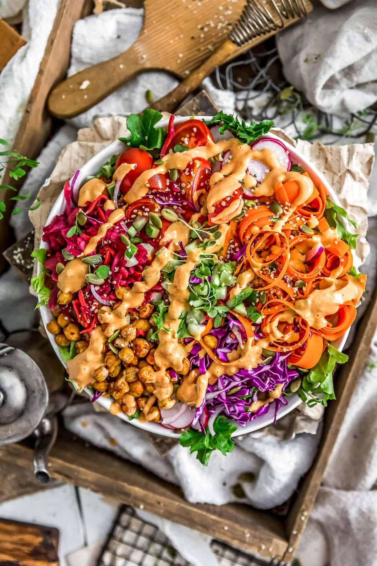 Veggie bowl topped with Oil Free Vegan Thousand Island Dressing