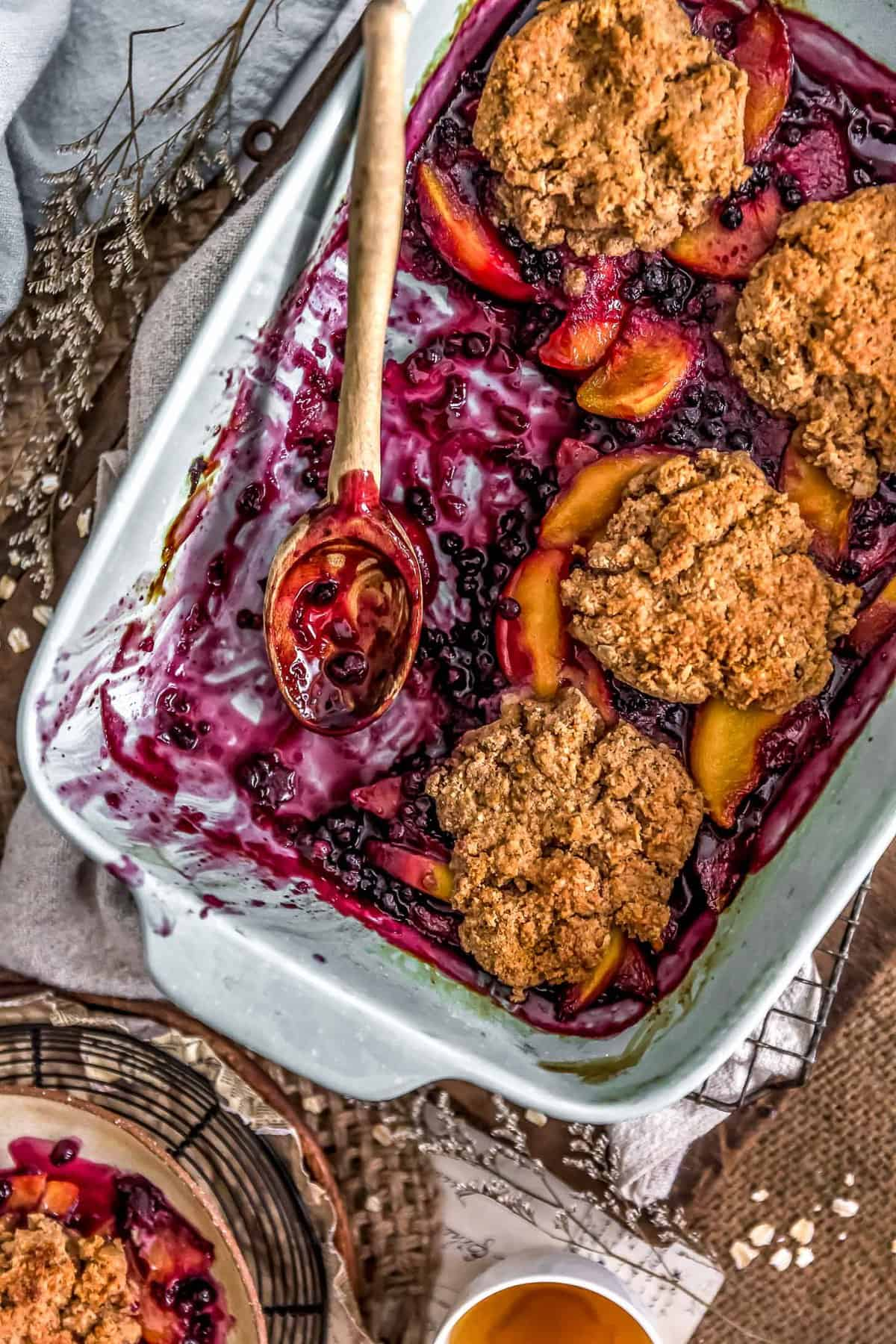 Peach Blueberry Biscuit Cobbler dish