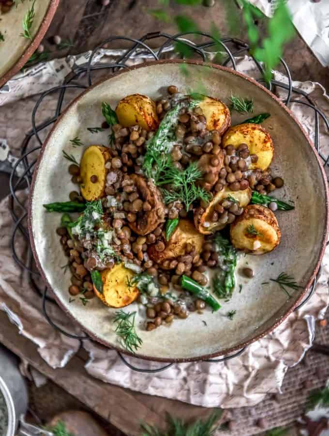 Plated Roasted Potatoes with Seasoned Lentils and Dill Sauce