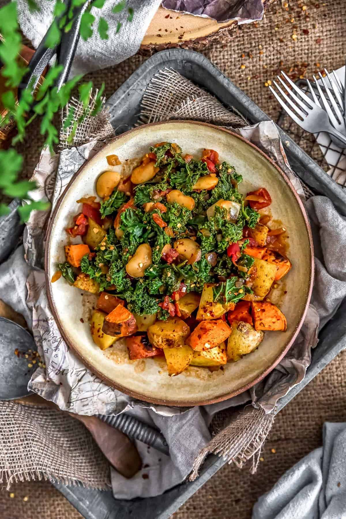 Plated Southern Kale and Butter Beans with Potatoes
