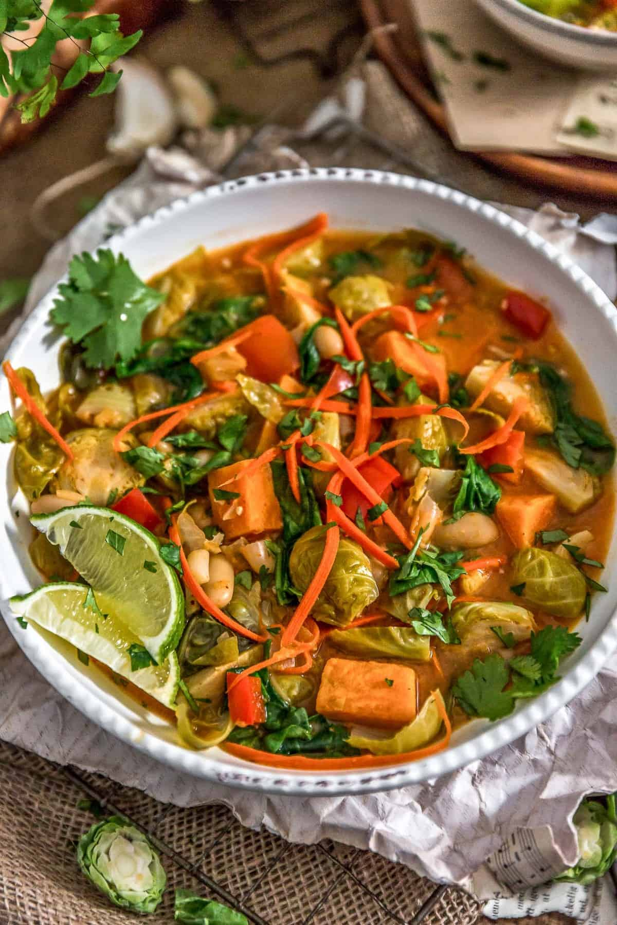 Thai Curry Brussel Sprout Soup in a bowl